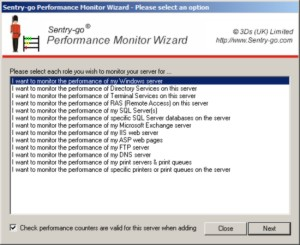 The Performance Wizard allows you to quickly setup performance monitoring